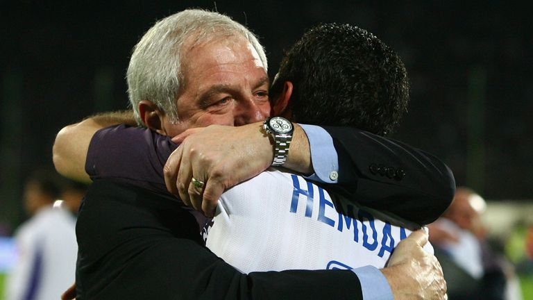FLORENCE, ITALY - MAY 01:  Walter Smith, manager of of Ranger, celebrates with Brahim Hemdani of Rangers after the UEFA Cup Semi Final second leg match at the Artemio Franchi Stadium on May 1, 2008 in Florence, Italy.  (Photo by Ryan Pierse/Getty Images)