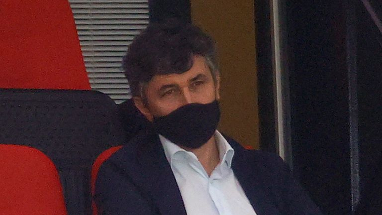 Watford's Italian owner Gino Pozzo wearing a face mask or covering due to the COVID-19 pandemic, watches the play from the socially distanced seatingin the stands during the English Premier League football match between Watford and Manchester City at Vicarage Road Stadium