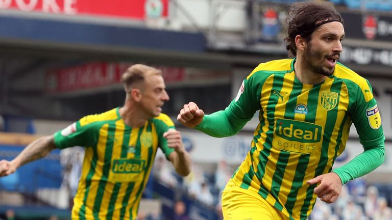 """West Bromwich Albion's Filip Krovinovic celebrates scoring the opening goal during the Sky Bet Championship match at Ewood Park, Blackburn. PA Photo. Issue date: Saturday July 11, 2020. See PA story SOCCER Blackburn. Photo credit should read: Martin Rickett/PA Wire. RESTRICTIONS: EDITORIAL USE ONLY No use with unauthorised audio, video, data, fixture lists, club/league logos or """"live"""" services. Online in-match use limited to 120 images, no video emulation. No use in betting, games or single club/league/player publications."""