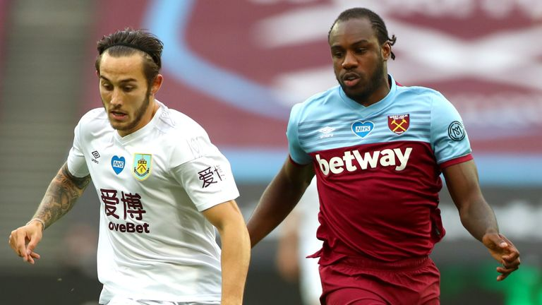 Burnley's Josh Brownhill and West Ham's Michail Antonio in action