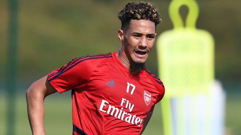 William Saliba training with Arsenal