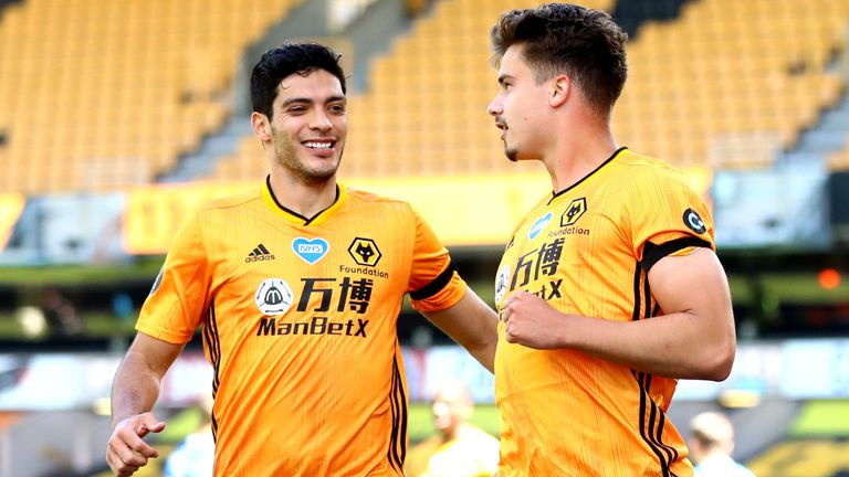 Leander Dendoncker celebrates scoring Wolves' second goal with team-mate Raul Jimenez