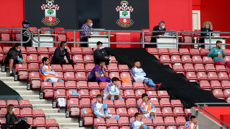 Socially distanced substitute benches have become a feature the Premier League restarted