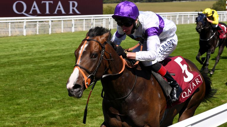 Supremacy, ridden by jockey Adam Kirby, wins the Qatar Richmond Stakes