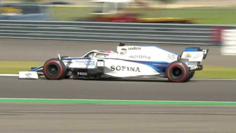 George Russell's near miss during P3 of the Anniversary Grand Prix.