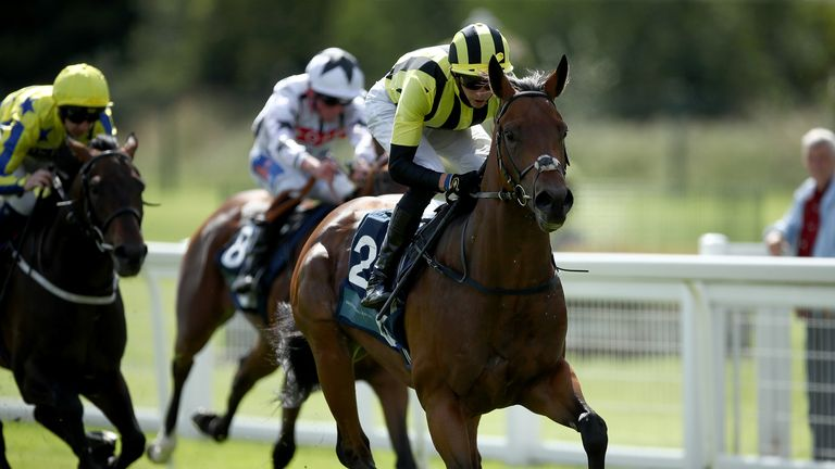 Bahrain Pride ridden by James Doyle wins The EBF Ripon Champion Two Yrs Old Trophy Stakes at Ripon Racecourse.