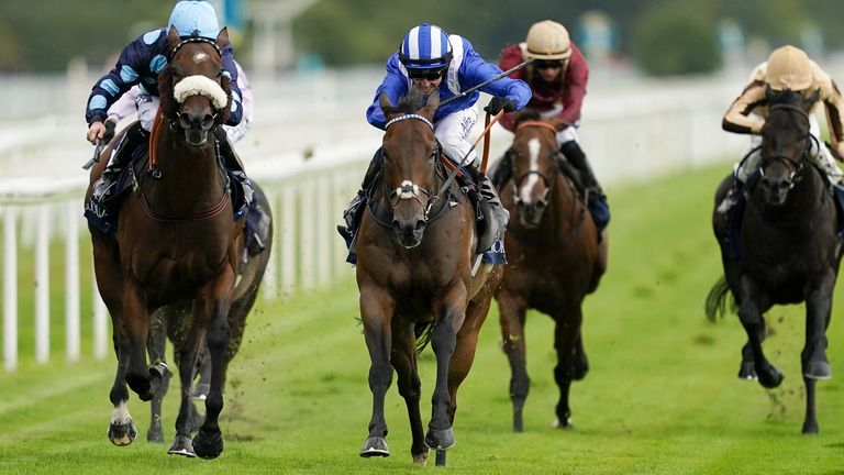 Jim Crowley on board Battaash (centre) on their way to winning the Coolmore Nunthorpe Stakes at York Racecourse during day three of the Yorkshire Ebor Festival at York Racecourse.