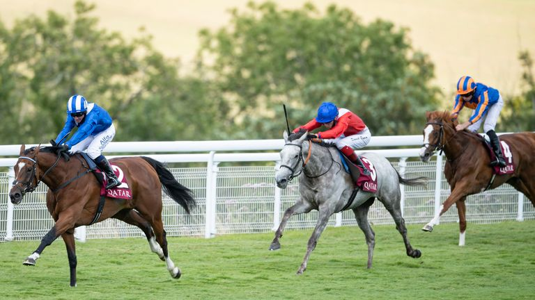 Enbihaar ridden by Jim Crowley wins the Qatar Lillie Langtry Stakes