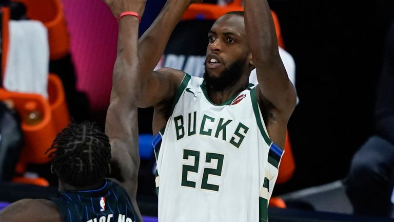 Khris Middleton launches a three-pointer in Milwaukee's Game 4 win over Orlando