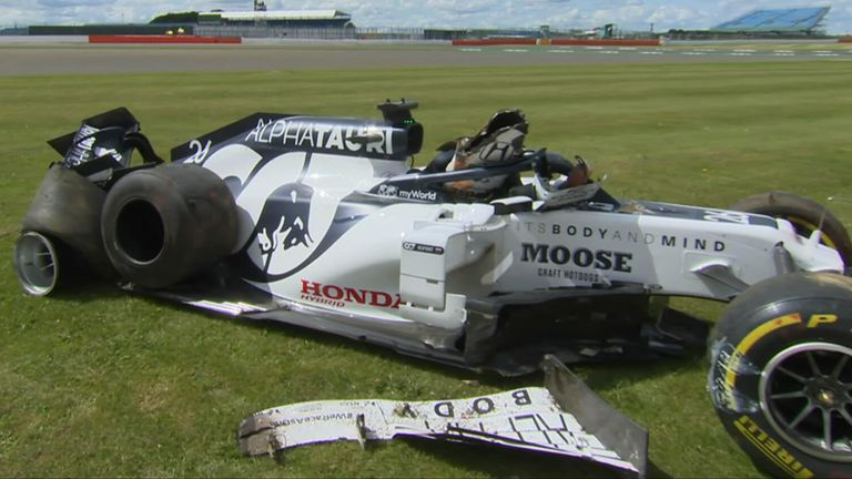 AlphaTauri's Daniil Kvyat walked away unharmed after a huge crash during the British Grand Prix.