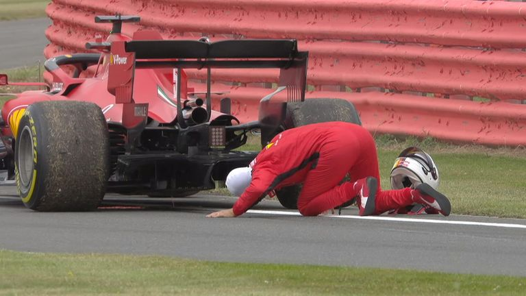 Sebastian Vettel suffered an engine failure during P2 of the 70th Anniversary GP.