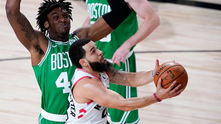 Boston Celtics up against the Toronto Raptors.