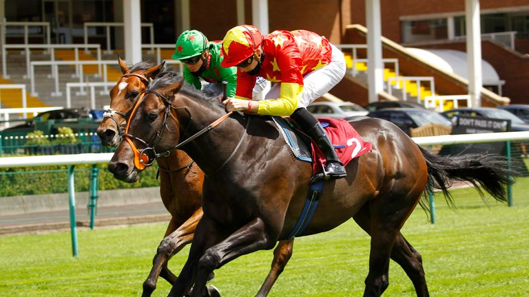 Cobh and Hector Crouch win the bet365 EBF Maiden Stakes at Haydock