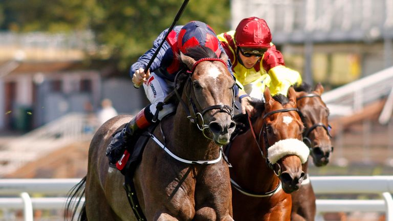 Steel Bull ridden by Colin Keane (left) wins the Markel Insurance Molecomb Stakes