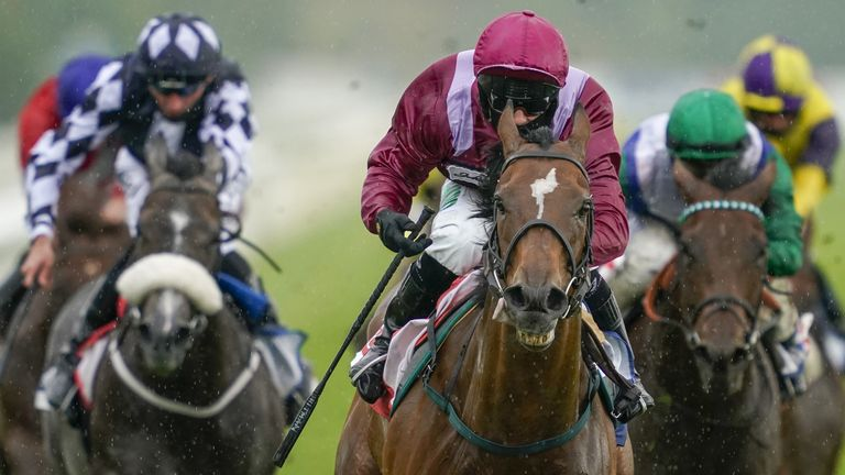 Safe Voyage ridden by Jason Hart (centre) wins The Sky Bet City Of York Stakes during day four of the Yorkshire Ebor Festival at York Racecourse.