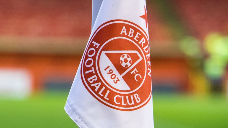 Corner flag at Aberdeen's Pittodrie Stadium