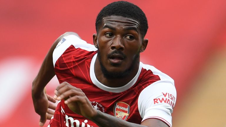 LONDON, ENGLAND - AUGUST 01: Ainsley Maitland-Niles of Arsenal during the FA Cup Final match between Arsenal and Chelsea at Wembley Stadium on August 01, 2020 in London, England.