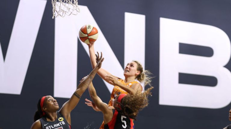 Alanna Smith of the Phoenix Mercury shoots the ball against the Atlanta Dream