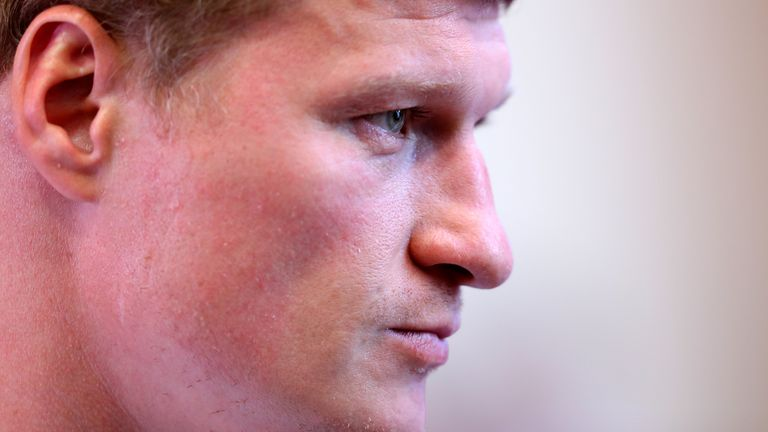 Alexander Povetkin is interviewed prior to the Vasiliy Lomachenko and Luke Campbell press conference in the lead up to there WBC, WBA, WBO and Ring Magazine Lightweight World Title Fight at the Canary Riverside Plaza Hotel on August 29, 2019 in London