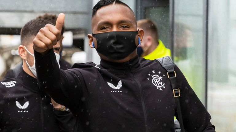 Alfredo Morelos was at Glasgow Airport with the rest of the Rangers squad