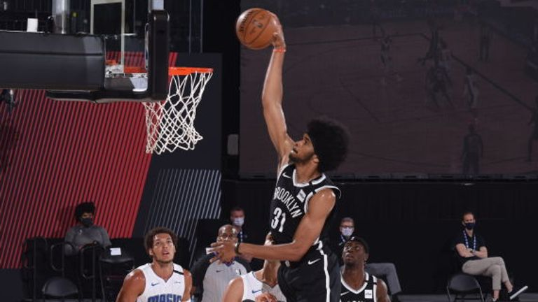 Jarrett Allen of the Brooklyn Nets dunks the ball during the game against the Orlando Magic