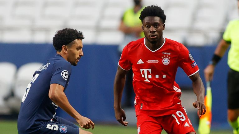 Alphonso Davies is closed down by Marquinhos during a cagey opening