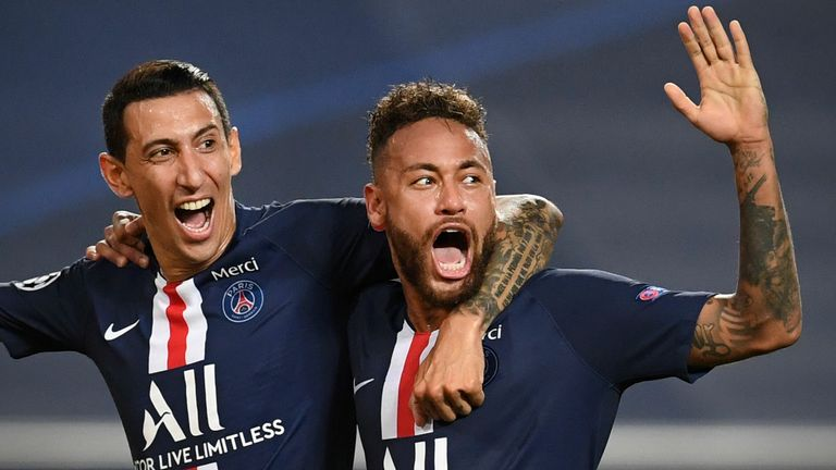 Angel Di Maria and Neymar celebrate after PSG double their lead in Lisbon
