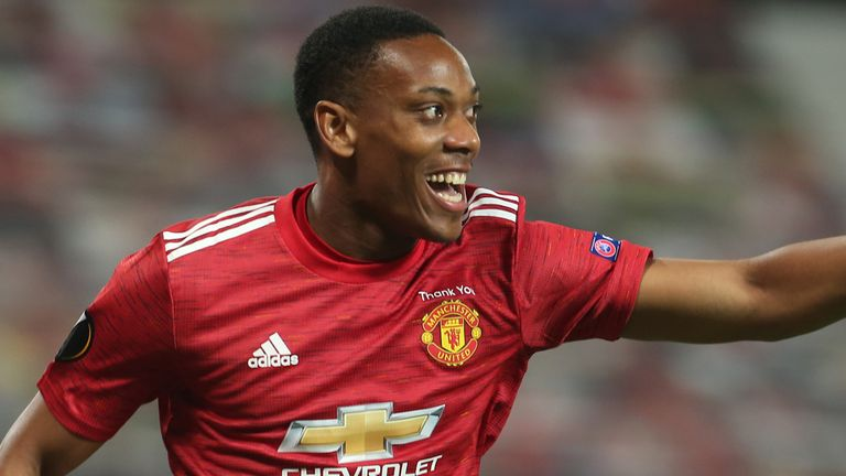 Anthony Martial celebrates a goal for Man Utd