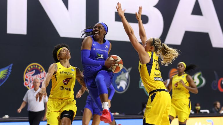 Arike Ogunbowale of the Dallas Wings shoots the ball against the Indiana Fever