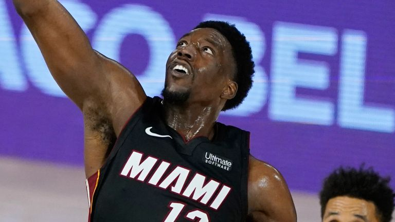 Bam Adebayo leaps for a rebound in the Heat's Game 4 win over the Pacers