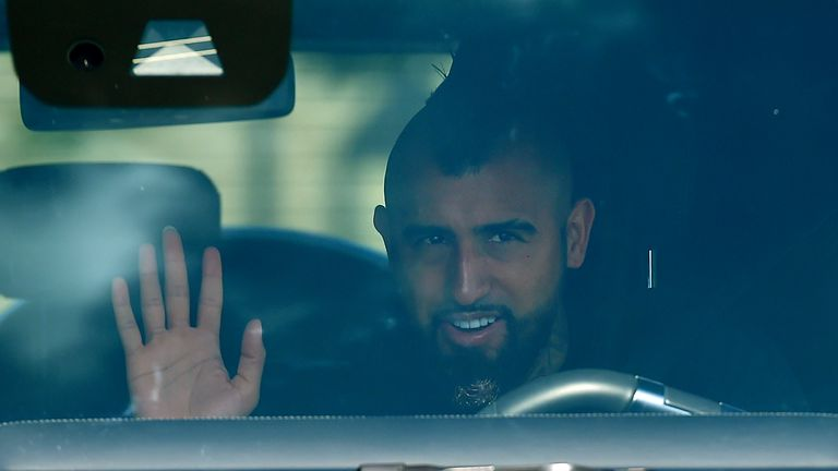Barcelona's Chilean midfielder Arturo Vidal waves as he arrives at Barcelona's Ciutat Esportiva Joan Gamper in Sant Joan Despi to undergo a medical test for COVID-19, on August 30, 2020. - Lionel Messi was not seen attending Barcelona's training ground for coronavirus tests today morning, raising the possibility he will boycott pre-season to force his way out of the club