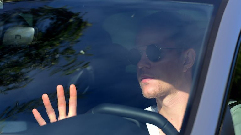 Barcelona's German goalkeeper Marc-Andre Ter Stegen arrives at Barcelona's Ciutat Esportiva Joan Gamper in Sant Joan Despi to undergo a medical test for COVID-19, on August 30, 2020. - Lionel Messi was not seen attending Barcelona's training ground for coronavirus tests today morning, raising the possibility he will boycott pre-season to force his way out of the club.