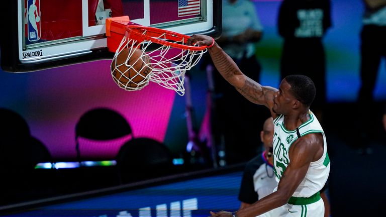 Brad Wanamaker found Javonte Green for a reverse alley-oop slam dunk as the Boston Celtics thrashed the Brooklyn Nets 149-115.
