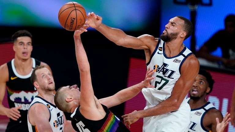 Utah's Rudy Gobert made an amazing block against Denver's Nikola Jokic in Game 2 of their Western Conference first round playoff series.