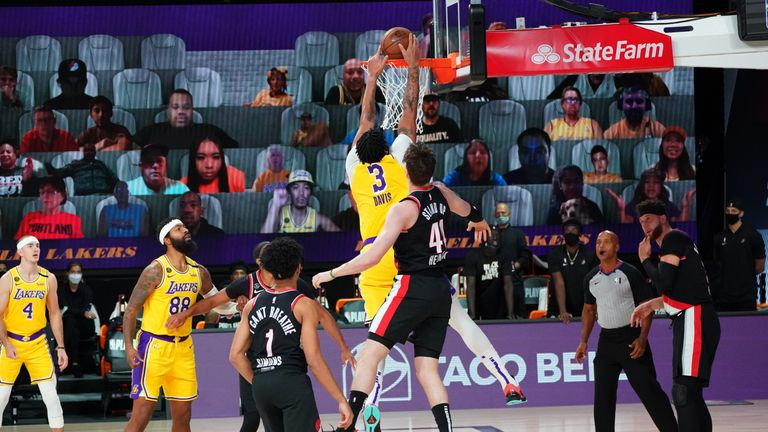 Los Angeles star Anthony Davis completed an emphatic dunk as the Lakers went further clear against Portland in Game 5 of their playoff series.