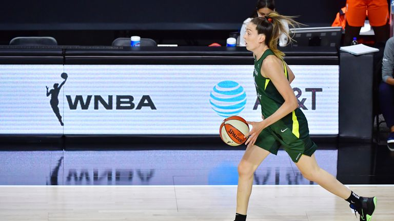 Breanna Stewart bucketed 22 points and made five blocks in Seattle Storm's 87-74 win over Connecticut Sun.