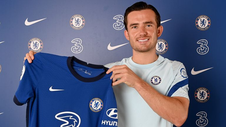 COBHAM, ENGLAND - AUGUST 26: Chelsea Unveil new signing Ben Chilwell at Chelsea Training Ground on August 26, 2020 in Cobham, England. (Photo by Darren Walsh/Chelsea FC via Getty Images)