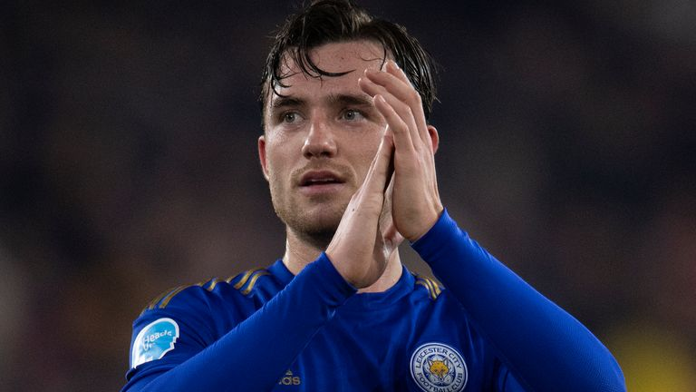 WOLVERHAMPTON, ENGLAND - FEBRUARY 14: Ben Chilwell of Leicester City ackowledges the travelling fans after the Premier League match between Wolverhampton Wanderers and Leicester City at Molineux on February 14, 2020 in Wolverhampton, United Kingdom. (Photo by VISIONHAUS)
