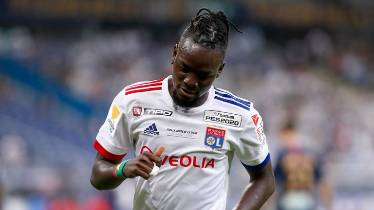 PARIS, FRANCE - JULY 31: Bertrand Traore #9 of Olympique Lyonnais looks on during the French League Cup (Coupe De La Ligue) final between Paris Saint Germain and Olympique Lyonnais at Stade de France on July 31, 2020 in Paris, France. (Photo by Catherine Steenkeste/Getty Images)