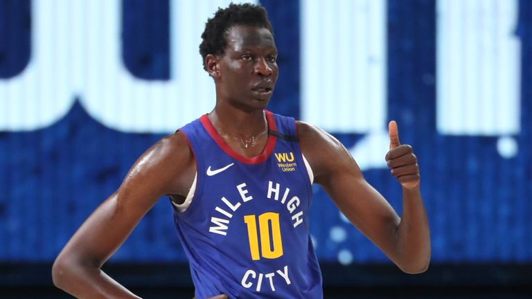 Bol Bol in action for the Nuggets in Orlando