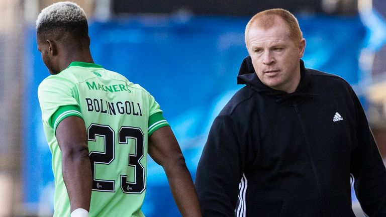 Celtic's Boli Bolingoli with manager Neil Lennon as he comes on as a substitute for Greg Taylor against Kilmarnock