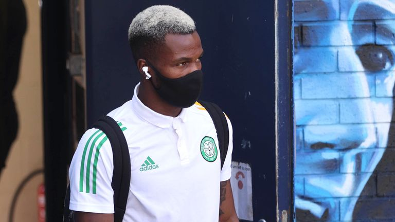 Celtic's Boli Bolingoli arrives for the Scottish Premiership match against, Kilmarnock