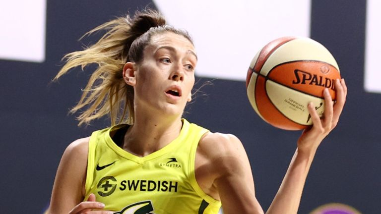 Breanna Stewart in action during the Seattle Storm's victory over the Indiana Fever