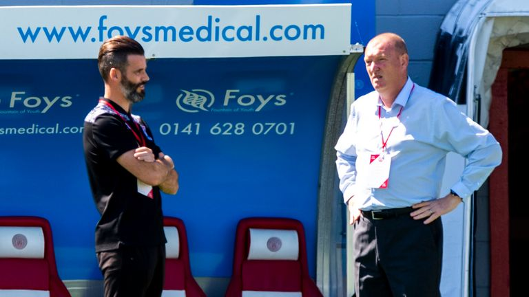 HAMILTON, SCOTLAND - AUGUST 08: Hamilton Manager Brian Rice and Stuart Kettlewell during a Scottish Premiership match between Hamilton Academical and Ross County at New Douglas Park, on August 6, 2020, in Hamilton, Scotland..(Alan Harvey / SNS Group)
