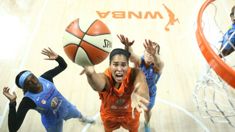 Brionna Jones of the Connecticut Sun shoots the ball against the Chicago Sky