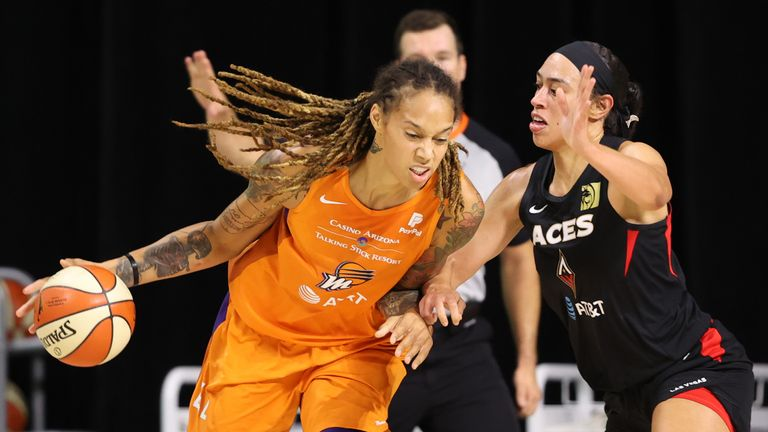 Brittney Griner of the Phoenix Mercury drives to the basket against the Las Vegas Aces