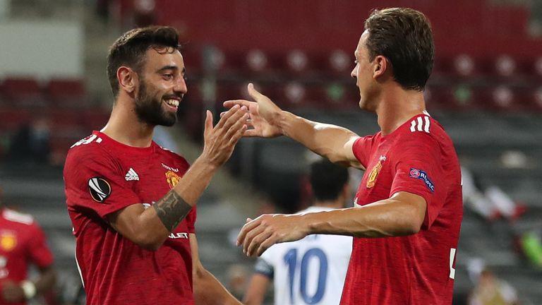 Bruno Fernandes celebrates scoring for Manchester United with Nemanja Matic against FC Copenhagen