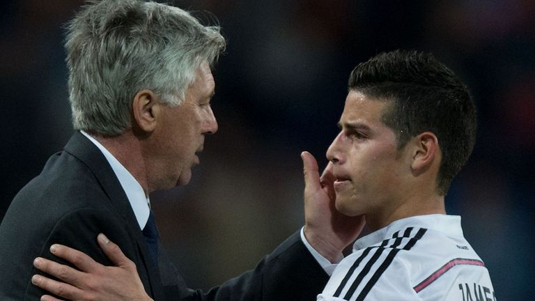 Carlo Ancelotti has previously managed James Rodriguez at Real Madrid and Bayern Munich