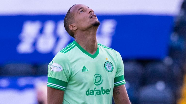Celtic's Christopher Jullien is frustrated at full time after they drew 1-1 at Kilmarnock