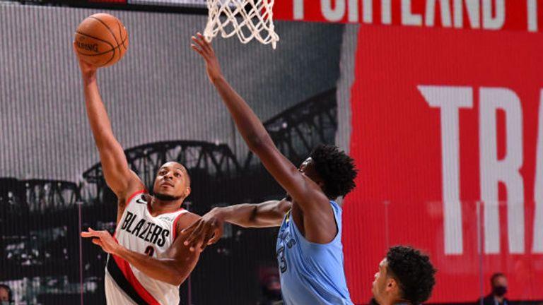 CJ McCollum of the Portland Trail Blazers shoots the ball against the Memphis Grizzlies